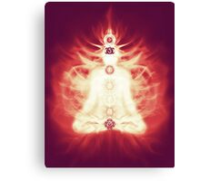 Chakras symbols and energy flow on human body art photo print Canvas Print