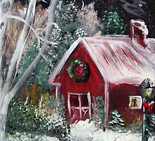 Christmas Red Barn by hickerson