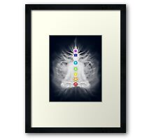 Woman meditating in lotus pose silhouette with Chakras and energy flow art photo print Framed Print