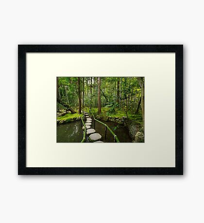 Japanese Zen garden with stepping stones art photo print Framed Print