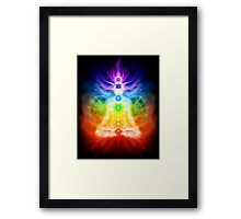 Chakras and energy flow on human body art photo print Framed Print