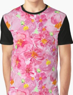 Bright pink and green watercolor flower pattern Graphic T-Shirt