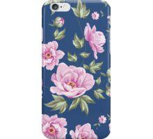 Elegant seamless peony pattern on blue background iPhone Case/Skin
