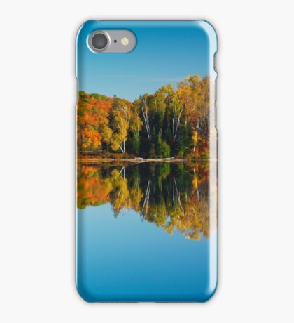 Autumn forest reflecting in still water art photo print iPhone Case/Skin