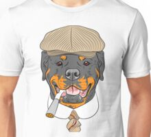 hipster dog Rottweiler breed in a brown cap, with a tie and a cigarette Unisex T-Shirt