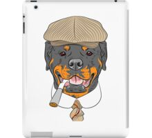 hipster dog Rottweiler breed in a brown cap, with a tie and a cigarette iPad Case/Skin