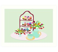 Afternoon Tea with cupcakes Art Print