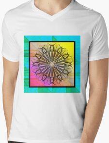 Zentangle on Psychedelic Colors Mens V-Neck T-Shirt