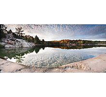 Autumn Nature Lake Rocks and Trees KIllarney Ontario Panorama art photo print Photographic Print