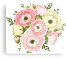 Painted,peonies,floral,flowers,pink,peach,green,yellow,modern Metal Print