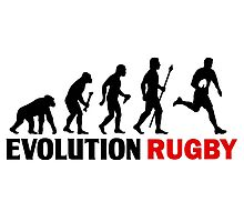 Evolution Of Man and Rugby Funny T Shirt Photographic Print
