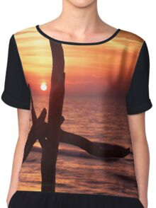 Colorful red sunset behind driftwood sculpture art photo print Chiffon Top