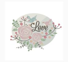"Cute,beautiful,painted design,""LOVE"",typography,peonies,flowers,birds One Piece - Short Sleeve"