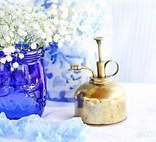 Cobalt Blue Mason Jar by LINDA KUKULSKI