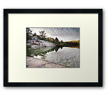 Autumn Nature Lake Rocks and Trees art photo print Framed Print