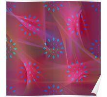 Blue Patterns on Pink Chiffon Poster