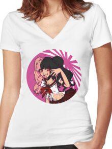 I'll Eat You Up Anime Girl Women's Fitted V-Neck T-Shirt