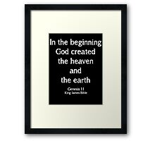 Genesis 1:1 King James Bible Quote Framed Print