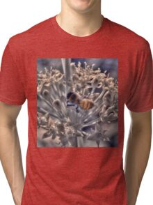 Honey bee on chive flower, hand coloured IR Tri-blend T-Shirt