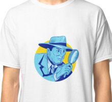 Detective Holding Magnifying Glass Circle Drawing Classic T-Shirt