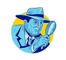 Detective Holding Magnifying Glass Circle Drawing Photographic Print