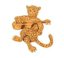 Jaguar Playing Guitar Drawing Photographic Print
