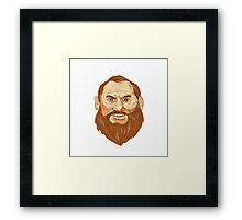 Man Bearded Face Retro Framed Print