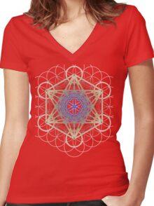 Metatron's Cube Design Women's Fitted V-Neck T-Shirt