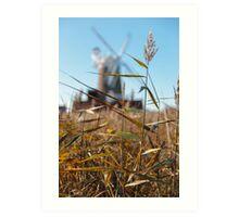 Wheat and Windmill Art Print