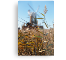 Wheat and Windmill Metal Print