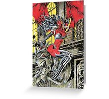 Devil Girl Pinup posing on a Gargoyle Greeting Card