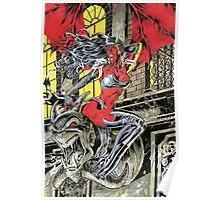 Devil Girl Pinup posing on a Gargoyle Poster