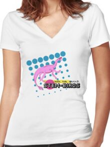 Ask Me About Stem-Birds Women's Fitted V-Neck T-Shirt