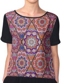 Rhombus Boho Flower Tile Pattern Pink Blue Chiffon Top