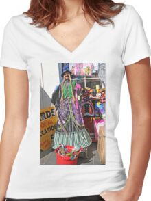 Halloween witch outside a shop Women's Fitted V-Neck T-Shirt
