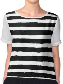 Vector Brush Strokes Black White Pattern Chiffon Top