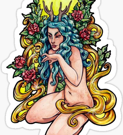 Faun lady with roses Sticker