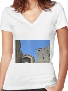 Stone building facades from San Marino. Women's Fitted V-Neck T-Shirt