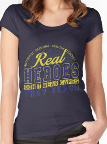 Teacher is real super Heroes Women's Fitted Scoop T-Shirt