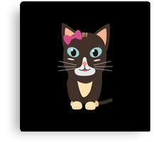 Cute cat with bow   Canvas Print