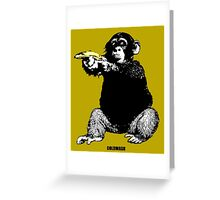 MONKEY SHOOTING BANANA Greeting Card