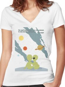 Carl Sagan Alien Love Women's Fitted V-Neck T-Shirt