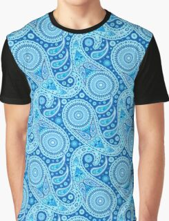 Starry Blue Paisley Pattern Graphic T-Shirt
