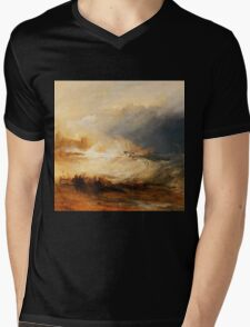 Wreckers Coast of Northumberland by JMW Turner Mens V-Neck T-Shirt