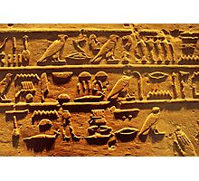 Egyptian hieroglyphs from Karnak temple in Luxor Photographic Print