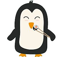 Penguin with sushi Photographic Print