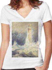 Bell Rock Lighthouse by JMW Turner Women's Fitted V-Neck T-Shirt
