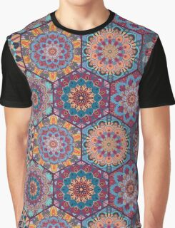 Boho Tiles Pattern Colorful Hexagon Graphic T-Shirt