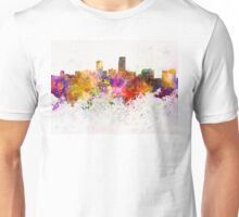 Omaha skyline in watercolor background Unisex T-Shirt