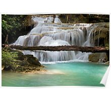 Waterfall With Fallen Tree Poster